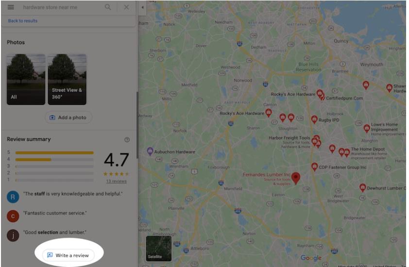 añadir reseñas en Google Maps